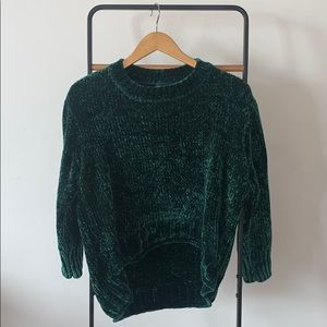 Massini crushed velvet emerald high low sweater